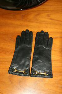 VINTAGE CHIC! Never-worn Italian black leather gloves from Bloomingdales sz 6.5