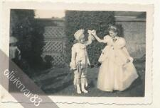 2 girls in carnival costumes - vintage photo