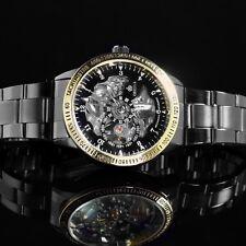 Reloj de Pulsera esqueleto Mecánico Orkina Para hombres Correa de enlace de metal negro y dorado-W2