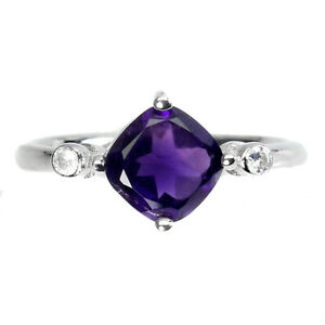 Unheated Cushion Amethyst 7mm Cz 14K White Gold Plate 925 Sterling Silver Ring 8