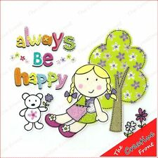 ALWAYS BE HAPPY - CUTE IRON ON T-SHIRT HEAT TRANSFER DIY - New
