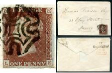 More details for 1841 1d red le plate 11 three margin example on envelope good used v83708