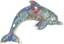 Dolphin Wall Art Decor w/mirrors & Acrylic Jewels nautical