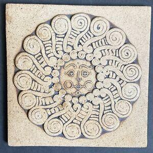 Vtg John Wenzel Clayworks Tile Trivet Stoneware MCM Signed Blowing Sun Face