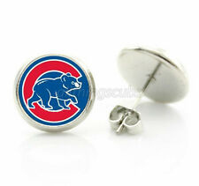 Chicago Cubs MLB Glass Charm Bear Logo Silver Stud Post Earrings Womens Jewelry