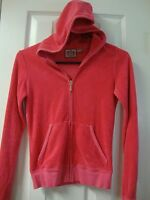 Womens JUICY COUTURE pink terry cloth hoodie zipper sweatshirt, sz P