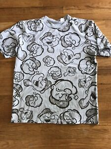 Vintage Y2K Popeye The sailor All Over Print Graphic Large T shirt Powder Blue