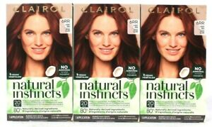3 Boxes Clairol Natural Instincts 6RR Caribbean Mahogany Light Red Hair Color