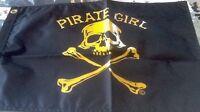 "PIRATE GIRL BOAT FLAG 12X18"" NEW BOAT FLAG JOLLY ROGER"