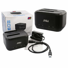 Syba USB 3.0 Dual Bay SATA HDD Docking Station For SATA 1-2-3 HDD/SSD, ENC50091
