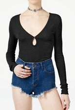 Free People Tate Long Sleeve Pullover Top, Black, Size Large, NWT