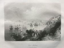1842 Antique Print;Cove Harbour / Queenstown / Cobh, Cork Ireland after Bartlett