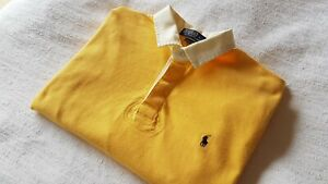 Men's Yellow Polo Ralph Lauren Rugby Shirt Size Medium Fit