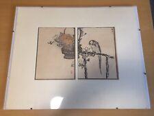 "Original Kono Bairei Woodblock Print Bird On Branch 1881 1884 9 x 12"" Framed"