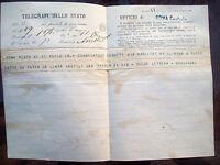 1874 TELEGRAMMA DA AOSTA A ROMA A SENATORE PIEMONTESE SU ELEZIONI IN VAL D'AOSTA