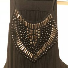 Witchery Beaded Black Swing Top Size 16