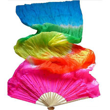 Colorful Multicolor Hand Made Belly Dance  Silk Bamboo Long Fan Veils 1.8m abus