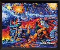 Harry Potter Inspired Dragon Hogwarts Castle Van Gogh Starry Night Decor A002