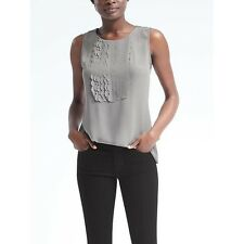 NWT Banana Republic Scallop-Front Tank Top in Light Gray • Small • $68 Retail