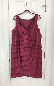 Dressbarn Women's Collection Purple Ruffle V Neck Party Cocktail Dress Size 16 W