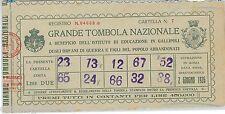 60701 - BIGLIETTO / CARTELLA TOMBOLA d'Epoca - GALLIPOLI  1926   ORFANI