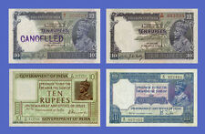 "INDIA - Lots of 4 notes - 4 types 10 Rupees ""King George 5"" - Reproductions!!!"