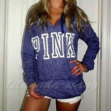 Sexy Womens Hoody Pink Printed Hoodie French Terry Sweatshirts Pullover Sweater
