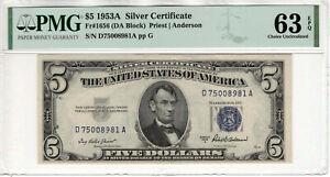 1953 A $5 SILVER CERTIFICATE NOTE FR.1656 DA BLOCK PMG CHOICE UNC 63 EPQ (981A)