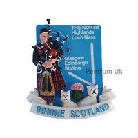 Scotland Fridge Magnet - Scottish Piper with Glasgow Highland Direction 2 Dogs