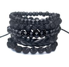 5 pc Set  Black Out Bamboo wood, Lava Stone Beads , Men's  Bracelets