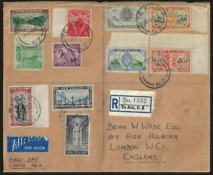 NEW ZEALAND 1946 REGISTERED FDC TE ARO TO LONDON FRANKED PEACE STAMPS