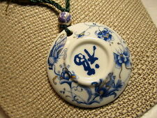 Asian China Necklace SALE Handmade Cloisonne Porcelain Blue Floral Pendant Yarn