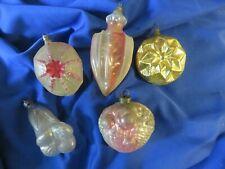 5 Antique German Christmas Ornaments Bellflower Star Indent Plus More