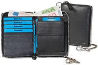 Rimbaldi® Leder Geldbörse mit Reißverschluss und Metall-Kette in Schwarz