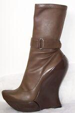 CELINE Brown Leather Platform Wedge Heel Ankle Boots 39