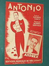 "Partition piano Chant ""Antonio"" DERVAUX VINCY"