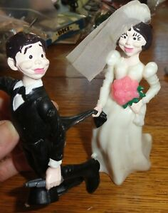 """Wedding Cake Topper Bride Groom 5"""" Humorous Comical Funny By Wilton"""