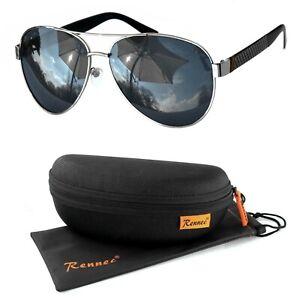 Rennec Herren Sonnenbrille Polarisiert Metall UV400 Pilotenbrille Chrom Schwarz