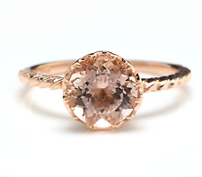 1.50 Carats Natural Morganite 14K Solid Rose Gold Ring