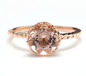 1.50 Carats Natural Morganite 14K Solid Rose Gold Ring
