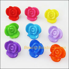 50Pcs Mixed Plastic Acrylic Rose Flower Charms Spacer Beads 16mm