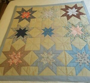 """Large 9 Star Quilt Wallhanging 44.5"""" x 45 3/4"""" Beige, Brown, Blues Hand Quilted"""