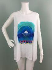 NWT Womens Milly for DesignNation White Capri Graphic Tank Shirt Top Sz XL
