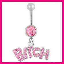 PIERCING NOMBRIL CRYSTAL STRASS BITCH NAVEL RING BELLY BUTTON BODY GEM CZ 316L