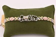 """7.5"""" I Love You Kisses Bracelet 14K Tricolor Gold Clad Silver 925 XOXO Mom's Day"""