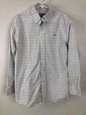 Vineyard Vines Boys Size S 8-10 White Blue Check Button Up Long Sleeve Shirt EUC