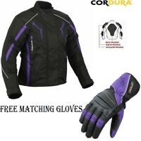 LADIES PURPLE SPEED MAXX WOMENS CE ARMOR MOTORBIKE MOTORCYCLE TEXTILE JACKET SET