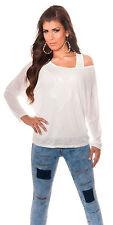 Sexy Longsleeve Shirt Pulli Pullover Pailletten Stern + Trägertop Weiß 34 36 38