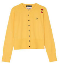 FABULOUS FRED PERRY/AMY WINEHOUSE YELLOW BUTTON DOWN CARDIGAN NEW SIZE 16