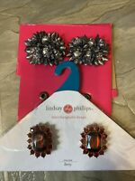 Lindsay Phillips 2 Pr Holiday Chistmas Shoe Snaps Red Betty Silver Bells New
